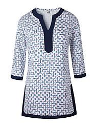 Damen Geometrisch Street Schick Lässig/Alltäglich T-shirt,V-Ausschnitt Alle Saisons ¾-Arm Blau Baumwolle Mittel