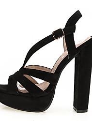 Women's Shoes Fabric Chunky Heel Heels / Peep Toe / Platform Sandals Wedding / Party & Evening / Dress Black