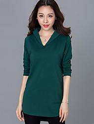 Tee-shirt Aux femmes,Couleur Pleine Décontracté / Quotidien / Grandes Tailles simple Automne Manches Longues Col en V Rouge / Noir / Vert
