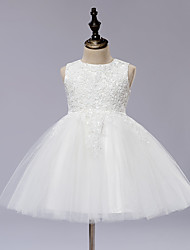 A-Line Knee Length Flower Girl Dress - Lace Satin Tulle Sleeveless Jewel Neck with Applique by TSJR