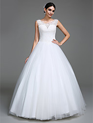 Ball Gown Princess Scoop Neck Floor Length Tulle Wedding Dress with Beading Button by LAN TING BRIDE®