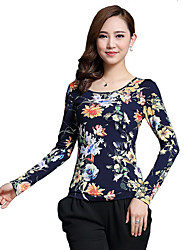 Women's Holiday Sexy Fall T-shirt,Floral Round Neck Long Sleeve Black / Yellow Cotton / Polyester Medium