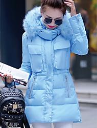 Women's Solid Blue / Black / Green Padded Coat,Simple Hooded Long Sleeve