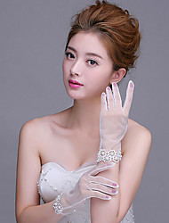 Wrist Length Fingertips Glove Net Bridal Gloves with Lace/Pearls