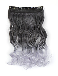 Hot Clip In Hair Extensions 5clips Long Wavy Curly Ombre Hairpins Synthetic Hair Clips in Synthetic Black-Gray