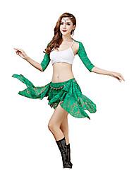 Tenue(Noire / Vert / Rouge / Bordeaux,Dentelle,Danse du ventre)Danse du ventre- pourFemme Dentelle Spectacle Danse du ventre Taille basse