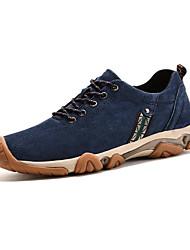 Hombre-Tacón Plano-Confort-Zapatillas de deporte-Exterior / Casual-Cuero de Cerdo-Azul / Caqui