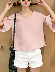 Women's Going out / Casual/Daily Simple / Cute SummerSolid V Neck ¾ Sleeve Pink / White Others Thin