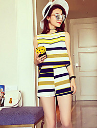 Boutique S Going out / Casual/Simple / Cute Summer Tank Top Pant,Striped Round Neck Sleeveless Red /Suit