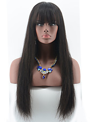 Peruvian Full Lace Human Hair Wigs With Bangs Silky Straight Full Lace Wigs For Black Woman Bleached Knots