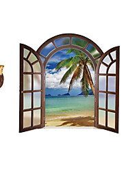 European Landscape Fake Window Wall Decals Coconut Tree Decals Landscape Stickers Nursery Children's Room for Home Decor