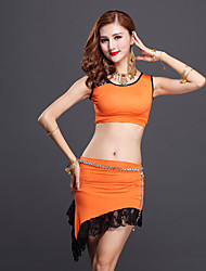 Belly Dance Outfits Women's Performance Cotton Lace 3 Pcs Light Green / Purple / Orange / Burgundy  Top/Skirt Sleeveless