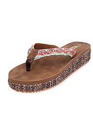 Women's Clogs & Mules Summer / Fall Flip Flops Synthetic Casual Low Heel Stitching Lace Brown Others