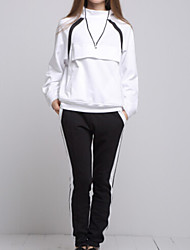 ARNE® Mujer Escote Chino Manga Larga sets Blanco-A031+10024