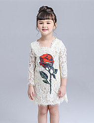 KIMOCAT Girl's Casual/Daily Floral Dress,Cotton Summer / Fall White