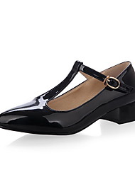 Women's Patent Leather Solid Buckle Pointed Closed Toe Low Heels Pumps-Shoes