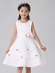 Ball Gown Knee-length Flower Girl Dress - Cotton / Satin / Tulle Sleeveless Jewel with Flower(s)