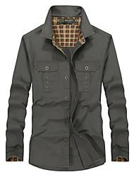 Men's Solid Work / Formal Shirt,Cotton Long Sleeve Green / Beige