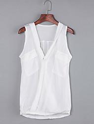 Damen Solide Sexy / Einfach Lässig/Alltäglich T-shirt,Tiefes V Sommer Ärmellos Weiß / Schwarz / Grau Polyester Mittel