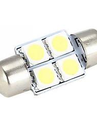 10pcs 31mm 4 SMD 5050 cúpula micro vehículo universal de carro auto SUV del coche del adorno interior blanco llevó bombillas (12V CC)
