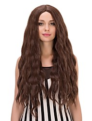Women Long Natural Wave Dark Brown Cosplay Synthetic Wig