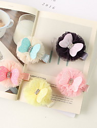 Korean Flower Girl's Fabric Bow  Hair Clip
