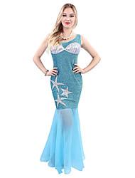 Costumes de Cosplay / Costume de Soirée / Bal Masqué Sirène Fête / Célébration Déguisement Halloween Noir / Bleu Ciel Vintage Robe