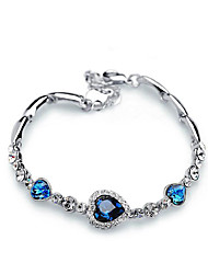 Chain Bracelets 1pc,Blue Rhinestone Fashion Jewelry Love Bracelet Chic Heart Best Friend gift
