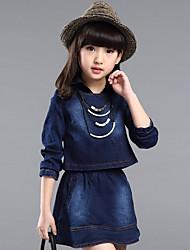 Girl's Cotton Spring/Autumn Fashion Casual Denim Skirt Two-piece Set