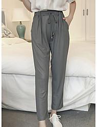 Mulheres Calças Simples Saruel / Chinos Poliéster Micro-Elástica Mulheres