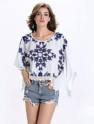 Tee-shirt Aux femmes,Imprimé Décontracté / Quotidien Sexy Eté Manches Courtes Col Arrondi Blanc Lin Opaque