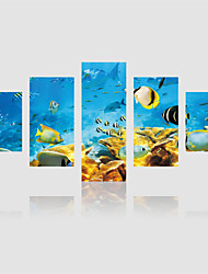 JAMMORY Canvas Set Landscape Modern,Five Panels Gallery Wrapped, Ready To Hang Vertical Print No Frame Seabed