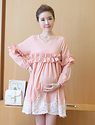 Maternidad Corte Ancho Vestido Casual/Diario Simple,Un Color Escote Redondo Sobre la rodilla 1/2 Manga Rosa Algodón Verano