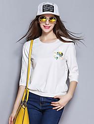 Sybel Frauen Casual / täglich / fallembroidered Rundhalsausschnitt und ¾-Ärmeln aus weißem Polyester / Spandex-Medium