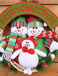 Door Hanging Plush Santa Claus Snowman Elk Rattan Christmas Wreath Window Ornaments Scene (Random Shape)