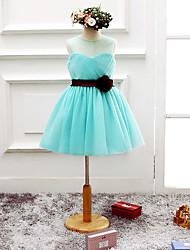 A-line Knee-length Flower Girl Dress - Organza Sleeveless Scoop with Flower(s)