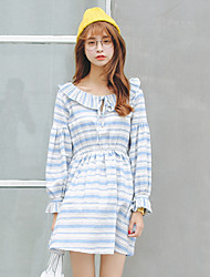 Women's Casual/Daily Simple Loose Dress,Striped Cowl Midi Long Sleeve White