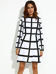 Women's Work Loose Dress,Check Round Neck Above Knee Long Sleeve White Cotton / Others Summer