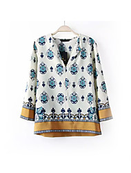 Damen Blumen Einfach Lässig/Alltäglich T-shirt,V-Ausschnitt Frühling Langarm Blau Baumwolle / Polyester Mittel