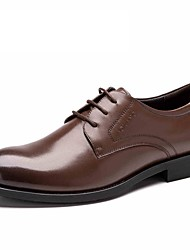 Черный / Коричневый Мужская обувь Свадьба / Для офиса / Для вечеринки / ужина Кожа Туфли на шнуровке
