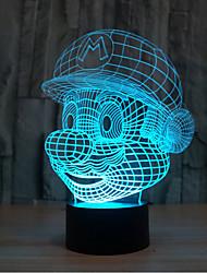 guerra de las galaxias Mario touch oscurecimiento 3d llevó la luz de la noche de la lámpara de la decoración ambiente 7colorful de