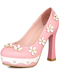 Women's Shoes PU Summer / Fall Heels / Round Toe Heels Office & Career / Casual Chunky Heel Flower Black / Pink/