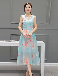 Women's Going out Street chic A Line Dress,Floral V Neck Midi Sleeveless Blue Polyester Fall