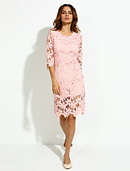 Women's Work Sheath / Lace Dress,Solid Round Neck Knee-length ½ Length Sleeve Pink Cotton Spring