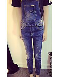 Women's Solid Blue Jeans Pants,Simple / Cute