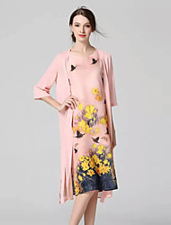 JOJ  Women's Going out Sophisticated Loose DressFloral Round Neck Midi Long Sleeve Pink Polyester