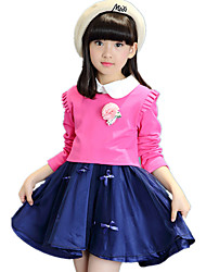 Girl's Sweet Doll Collar Going out Color Block with Bow Clothing Set (Ruffle Side Puff Sleeve Blouse & Tulle Dress)