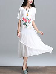 Women's Casual / Vintage Ethnic Print A Line / Loose Dress,Floral Asymmetrical Blue / White Cotton / Linen Summer