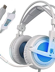 SADES A6 Frost Blue 7.1 Virtual Surround Sound USB Headset Headphones with Microphone Volume Control LED Lights