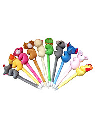 5PCS Cute Plush Cartoon Animal Ballpoint Pen
